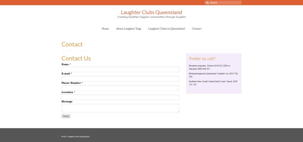 Контактная форма сайта Laughter Clubs Queensland
