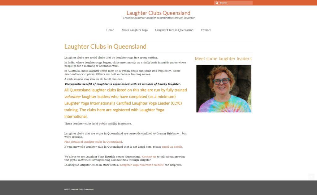 Внутрення страница сайта Laughter Clubs Queensland